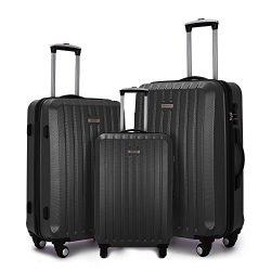 Fochier Luggage 3 Piece Spinner Luggage Set Lightweight Suitcase