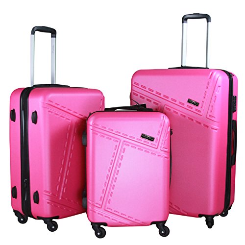 3 pc luggage set durable lightweight spinner suitecase lug3 1610 hot pink luggagebee luggagebee. Black Bedroom Furniture Sets. Home Design Ideas