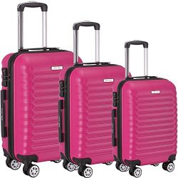 Luggage Set 3 Piece ABS Trolley Suitcase Spinner Hardshell Lightweight Suitcases TSA (rosered)