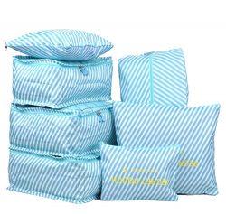 7 Set Travel Packing Organizer,Waterproof Mesh Durable Luggage Travel Cubes,1 Shoe Bag (blue str ...