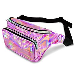 FOMAN Fanny Pack Waist Bag, Shiny Holographic Fanny Pouch Money Belt [Adjustable Strap] for Wome ...