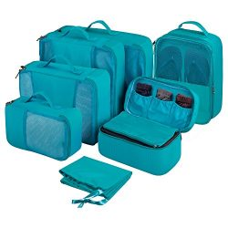 7 Set Packing Cubes Luggage Organizers with Laundry, Shoe and Underwear Bags