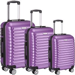 Luggage Set 3 Piece ABS Trolley Suitcase Spinner Hardshell Lightweight Suitcases TSA (purple)