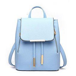 Women Leather Shoulder Bag Travel Camping Backpacks Schoolbags (Skyblue)