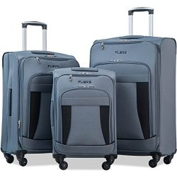 Flieks 3 Piece Luggage Set Expandable Spinner Suitcase (Gray&Black)