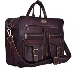 Handmade World Leather Messenger Bag – 16 Inch Briefcase Messenger Bag Brown Leather with  ...