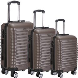 Luggage Set 3 Piece ABS Trolley Suitcase Spinner Hardshell Lightweight Suitcases TSA (coffee)