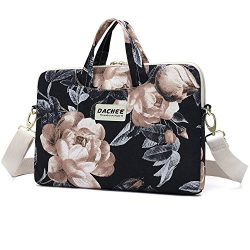 Dachee Big White Rose Patten Waterproof Laptop Shoulder Messenger Bag Case Sleeve For 14 Inch 15 ...