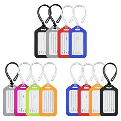 MIFFLIN Bright Luggage Tags (12-Pack, Assorted), Plastic Suitcase Baggage Tags Luggage Tag Holders