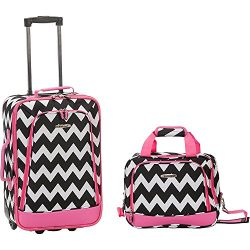2 PC PINK CHEVRON LUGGAGE SET
