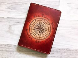 Compass vintage quotes Passport holder cover wallet personalized Travel gifts