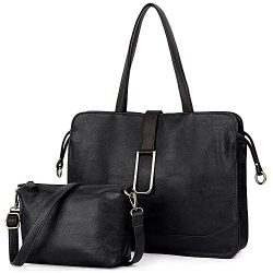 UTo Women Handbag 2 Pieces Set Tote Bag Briefcase Style Satchel with Small Crossbody Shoulder Pu ...