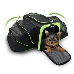 Jespet Expandable Airline Approved Pet Carrier with with Fleece Mat by, Foldable Soft Sided Trav ...