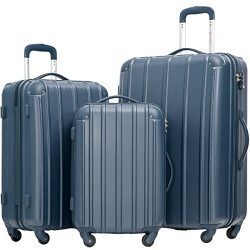 Merax Travelhouse 3 Piece Spinner Luggage Set with TSA Lock (Navy)