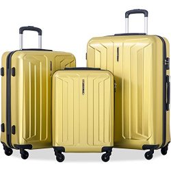 Flieks 3 Piece Luggage Set Eco-friendly Spinner Suitcase with TSA Lock (Yellow)