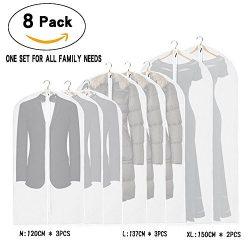 La Saveur Garment bag, 8 Pack, Lightweight suit bag, Dust Proof Garment Protection for Closet St ...