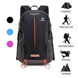 Camel Hiking Backpack Travel Backpack Outdoor Backpack Lightweight & Durable (Black)