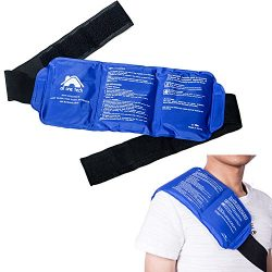 Pain Relief Ice Pack with Strap for Hot Cold Therapy, Reusable Gel Pack for Injuries, Best as He ...