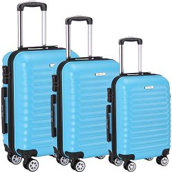 Luggage Set 3 Piece ABS Trolley Suitcase Spinner Hardshell Lightweight Suitcases TSA (blue)