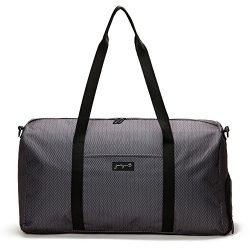Jadyn B 22″ Weekender Duffel Bag with Shoe Pocket, Herringbone Black