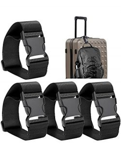 Frienda 4 Pieces Add a Bag Luggage Strap Adjustable Suitcase Belt Straps Accessories for Travel  ...
