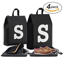 Personalized Initial Travel Shoe Bag (4 Pack) for Men, Women and Kids – (Letter S)