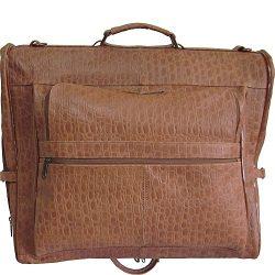 AmeriLeather Leather Three-suit Garment Bag (Brown Pebble)