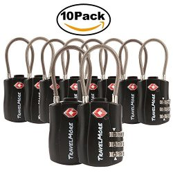 TravelMore 10 Pack TSA Approved Travel Combination Cable Luggage Locks for Suitcases – Black
