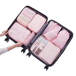 Belsmi 8 Set Packing Cubes – Waterproof Mesh Compression Travel Luggage Packing Organizer  ...
