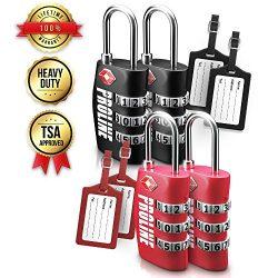 TSA Approved Luggage Lock 4-Pack – TSA Travel 3-Digit Combination Lock with Luggage Tag