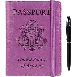 RFID Blocking Leather Travel Passport Holder Cover Wallet Case With Bonus Ballpoint Pen Purple