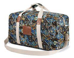 Malirona Canvas Weekender Bag Travel Duffel Bag for Weekend Overnight Trip (Black Flower)