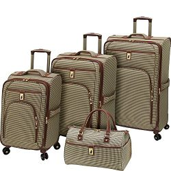 London Fog Cambridge 4 Piece Spinner Luggage Set (Olive Houndstooth)