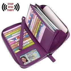 YALUXE Women's RFID Blocking Leather Large Zipper Wallet Passport Holder Purple