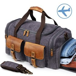 Canvas Duffle Bag Overnight Bags for Men Weekend Travel Duffel Weekender Bags Canvas Leather Gym ...