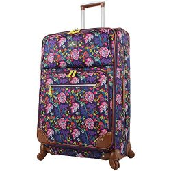 Lily Bloom Luggage Large Expandable Design Pattern Suitcase With Spinner Wheels For Woman (Rake  ...