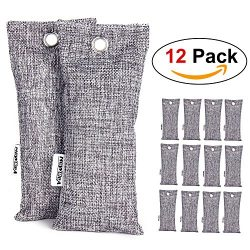 NEWBEA 12 Packs Natural Air Purifying Bags,Charcoal Shoe Deodorizer and Odor Remover,Mini Bamboo ...