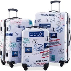 Merax Graphic Print Luggage Set 3 Piece ABS + PC Spinner Travel Suitcase (By Air Mail)
