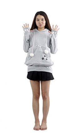 Womens Kangaroo Pouch Hoodie Long Sleeve Pet Cat Dog Holder Carrier Sweatshirt XL Gray