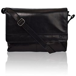 Leather Laptop Messenger Bag for Men – Premium Office Briefcase 14″ Macbook Professi ...