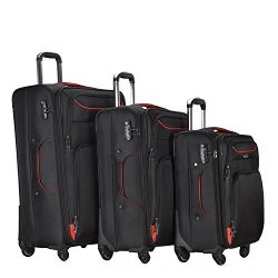 3 PC Luggage Set Durable Lightweight Soft Case Spinner Suitecase LUG3 RS3049 RED/BLACK