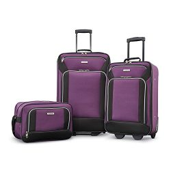 American Tourister Fieldbrook Xlt 3pc Set (Bb/21/25 Upright), Purple/Black