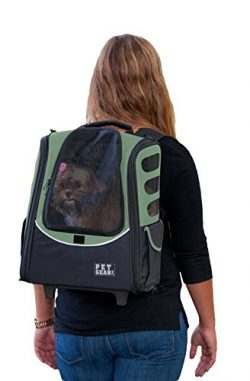 Pet Gear I-GO2 Roller Backpack, Travel Carrier, Car Seat for Cats/Dogs, Mesh Ventilation, Includ ...