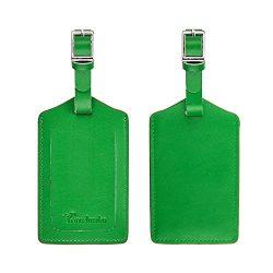 Travelambo Genuine Leather Luggage Bag Tags (green 2 pcs set)