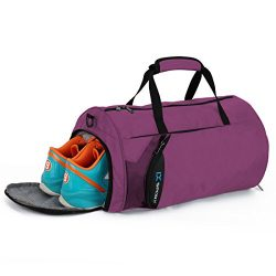 IX Fitness Sport Small Gym Bag with Shoes Compartment Waterproof Travel Duffel Bag for Women and ...