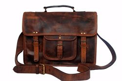 15 Inch Leather Vintage Rustic Crossbody Messenger Courier Satchel Bag Gift Men Women ~ Business ...