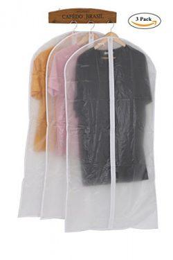 HOMPAT White Folding Garment Bag with Study Full Zipper, Moth-proof Garment Bags for Storage or  ...