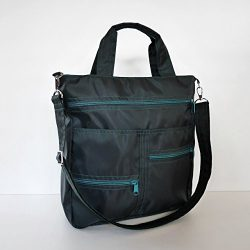 Virine black water resistant shoulder bag, cross body bag, messenger bag, purse, everyday bag, h ...