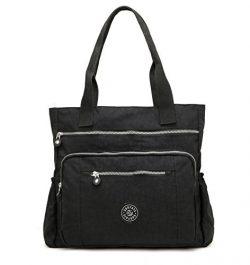 Nylon Waterproof Multi Pockets Large Lightweight Tote Bag Shoulder Bag for Gym Hiking Picnic Tra ...