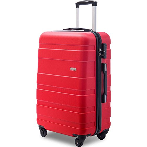 Merax Afuture 20 24 28 inch Luggage Lightweight Spinner Suitcase (28-Consignment, Red)